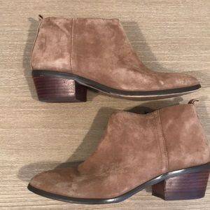 J Crew Sawyer Suede Booties in Tan
